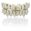 Solid Top Bottom permanent cut yellow gold grillz wm clearbg